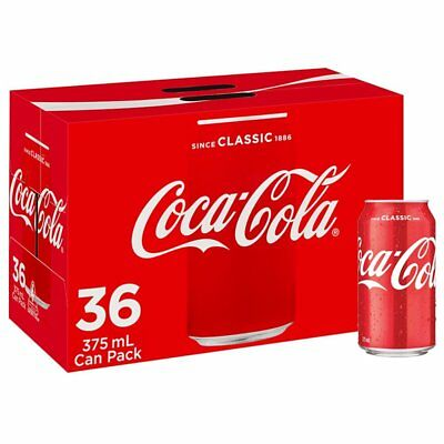 Coca-Cola Regular Soft Drink Can 36 x 375mL Bulk Pack Coke Drink |