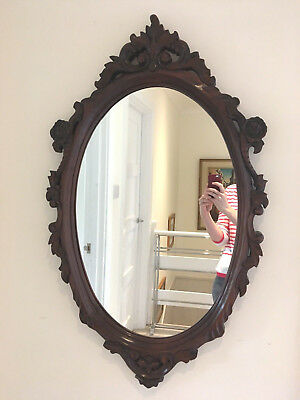 C1940s Large Antique Victorian Style Carved Rococo Scroll Wooden Mirror.