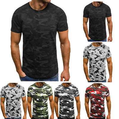 Hot Short Sleeve T-Shirt Tactical Military Crew Tee Undershirt Army Camouflage