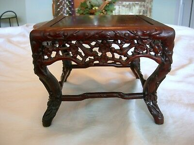 Antique CHINESE CARVED ROSEWOOD STAND STOOL  Exceptional Quality Carving