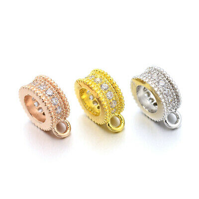 20pcs Rack Plating Brass Micro Pave Cubic Zirconia Hanger Links Mixed Color