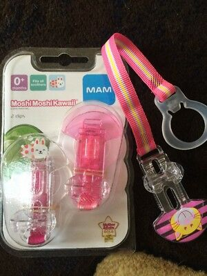 3 x PERFECT DUMMY PACIFIER MAM BABY CLIPS. CLIP ON/HOLDS SOOTHER GIRL PINK CUTE