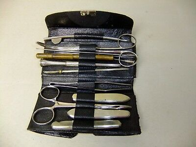 Military Antique Pocket Surgical Kit In Leather Case 14 Pieces