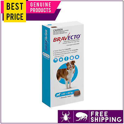 Bravecto For Large Dogs 20 to 40 Kg Blue 1 Dose Flea Tick Control