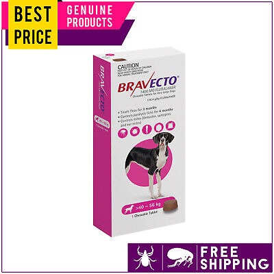Bravecto For Extra Large Dogs 40 to 56 Kg Pink 1 Dose Flea Tick Control