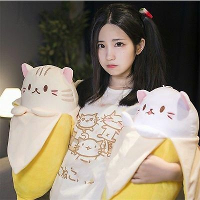 20 Anime Bananya Banana Cat Plush Stuffed Toy Cushion Doll Cute Big