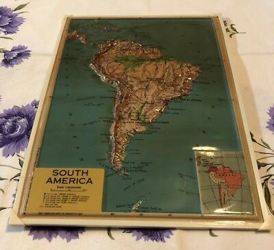 Vintage Plastic Relief Map Of South America Rico Florence Patent