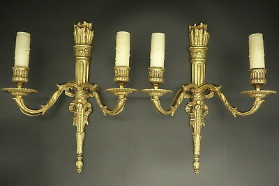 Pair Of Large Sconces, Quiver & Knots, Louis Xvi Style - Bronze - French Antique