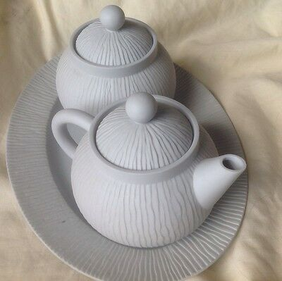 Limoge Grey Tea Pot And Sugar Bowl For One