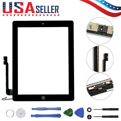 Touch Screen Digitizer + Home Replacement + Adhesive + 7 Tools For iPad 4 Black