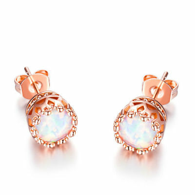 GEMSME 18K Rose Gold Plated Opal Stud Earrings 6MM Round For Women 6mm 1 Pairs