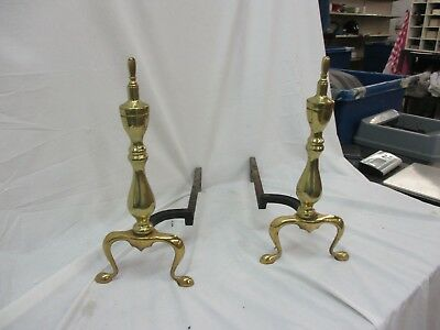 Pair of Brass Cast Iron Fireplace Andirons Firedogs Vintage Williamsburg style