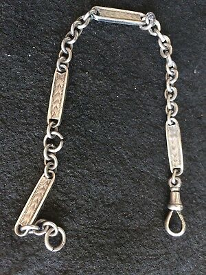 VINTAGE SOLID STERLING Silver Watch Chain.