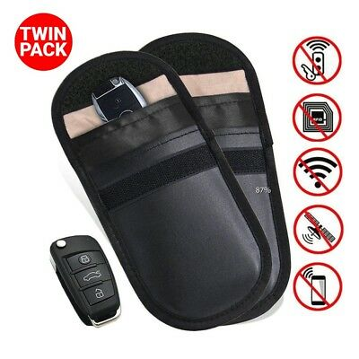 2x Lock Car Key Signal Blocker Keyless Entry Anti-Theft Fob Pouch Faraday Bag UK