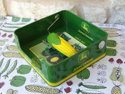John Deere Green Kitchen Ware Napkin Box with Corn Holder