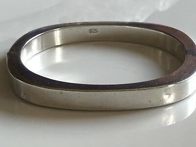 Exquisite Vintage Hallmarked Solid Sterling Silver Square Bangle 16.8g