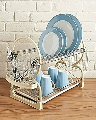 2 Tier Dish Drainer Rack Plate Stand Bowls Cutlery Cups Glass Dip Tray Cream Y&Y