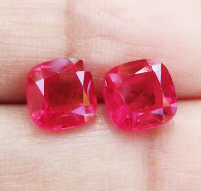 TOP COLOR! 8x8mm. 5.50 PAIR of CUSHION CORUNDUM BLOOD RED RUBY GEMs EXCELLENT!