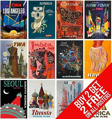 Postcard/A4/A3 - VINTAGE RETRO AIRLINE TRAVEL POSTERS - Bespoke Wall Art Design