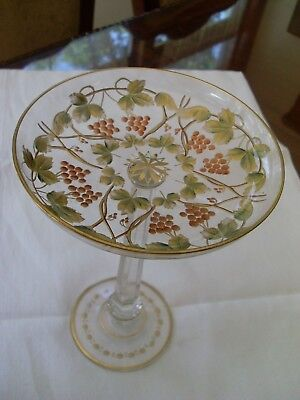 Antique Czech Moser Cut Engraved, Gilt Tazza, Compote, Grape Vine w/ Leaves