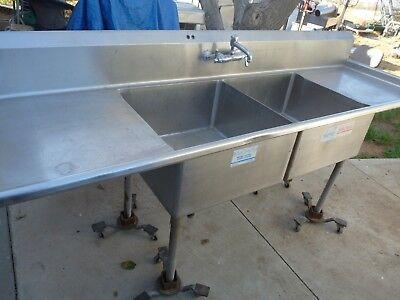 """2 Compartment Stainless Commercial Sink 96""""   NFS  -----Pick Up Only-----"""