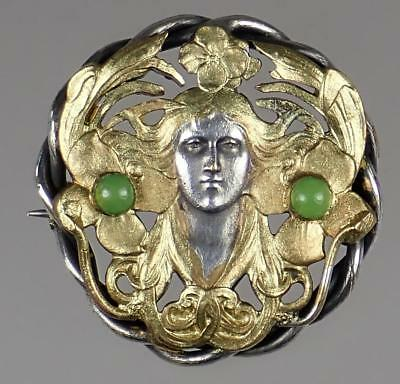 Beautiful Antique Art Nouveau Unger Brothers Sterling Silver Gilt Pin Brooch
