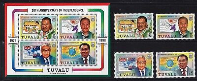 Tuvalu Mi.-Nr. 809 - 11 + Block 64 postfrisch 20 Th Anniversary of Independence