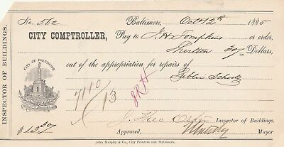 1885  City Of Baltimore, Maryland   City Comptroller   Warrant