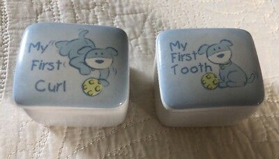 My First Tooth And My First Curl Ceramic Keepsake Box Set Euc