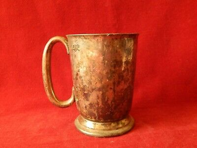 Vintage Georgian GR37 Silver Plate Half Pint Measure Tankard Walker & Hall