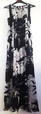 Vintage Basix Black Label Hand Beaded Black & White Formal Gown - Size 8 - NWT