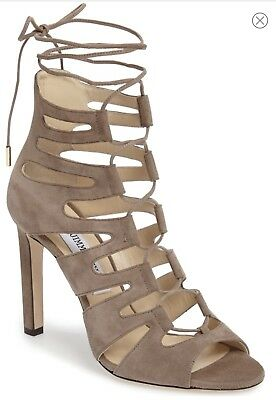 8288046a4656 Jimmy Choo Hitch Caged Light Mocha Suede Stiletto Sandals Size 7 Msrp.  995  NWT!