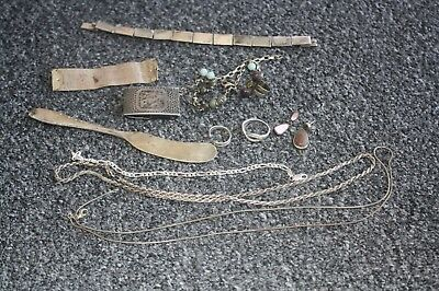 Lot Scrap & Not Sterling Silver Flatware, Jewelry, Misc. Almost 130 Grams