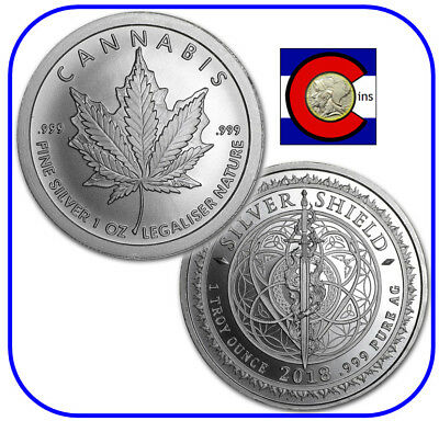2018 Silver Shield -- Cannabis -- 1oz silver round/coin in capsule