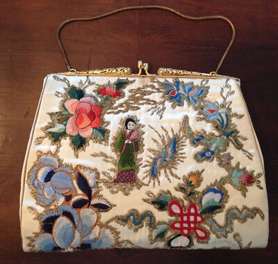 Vintage Antique Chinese Silk Satin Embroidered Gold Couching Purse Evening Bag