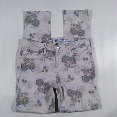GAP Womens Jeans Size 4a Always Skinny Sateen Blue Grey Floral Stretch Pants