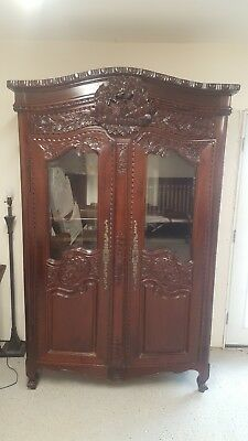 antique wood china cabinet hutch1001-172