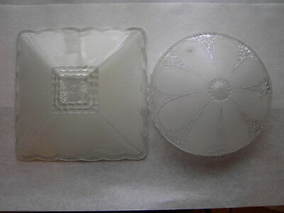 Lot of 2 Antique Vintage Ceiling Light Fixtures Globes Clear Glass Heavy