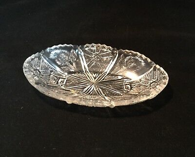 Vintage Clear Crystal Cut Press Glass Candy/ Nut Dish