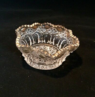 Vintage Clear Crystal Cut Press Glass Gold Accent Candy/ Nut/ Dish