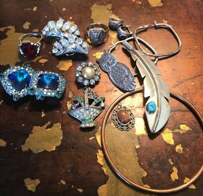 BIG Lot Vintage Jewelry RHINESTONE CLIP Earrings Estate Sterling Turquoise
