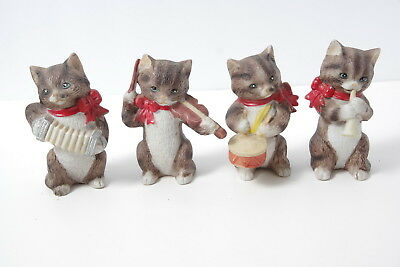 Vintage Jsny Set Of 4  Kitty Cat Band Figurines Drum Horn Violin Accordian