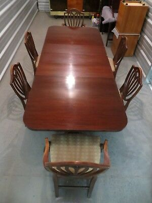 """Antique Mahogany Dining Room Table( 8' & 6"""") with 6 Chairs and Three 12"""" Leaves"""