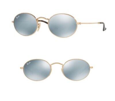 8121de63ede NEW Rayban Oval Flat Sunglasses RB3547N 001 30 51 Gold w  Silver Mirror  Round