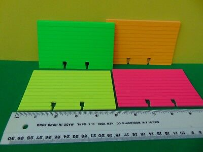 """80 Brand New  4 Neon Color Ruled Cards for Rolodex 3 x 5"""" Card File"""