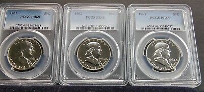 1961-1962-1963 50C Silver Franklin 3 coin set PCGS PR68 freshly graded date run