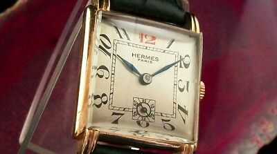 Vintage Hermes - Beautiful Dial - Square Case In 18K Gold Plated !!