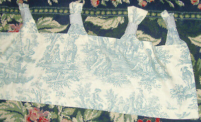 Pair of Waverly light blue toile and gingham French Country chic window valances