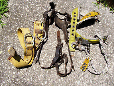 Bell Systems Climbing Spikes & 2 belts Rope for pole tree climbing