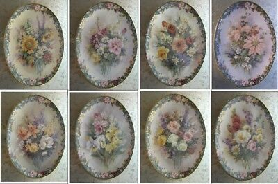Lot of 8 of Lena Liu's Floral Cameo Plates Release #'s 1, 2, 5, 7, 8, 9, 11 & 12